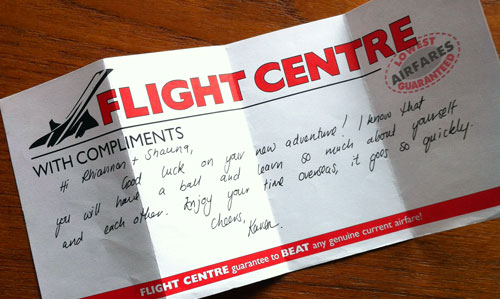 Travel agent note from 2003... this made the cut :)