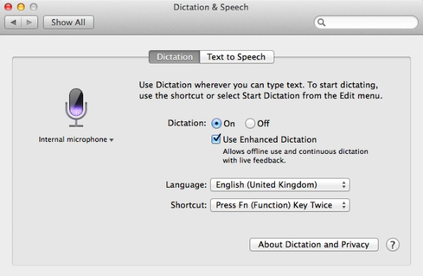 Apple voice dictation