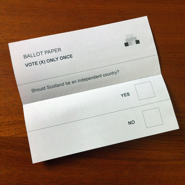 Scottish Independence Ballot Paper