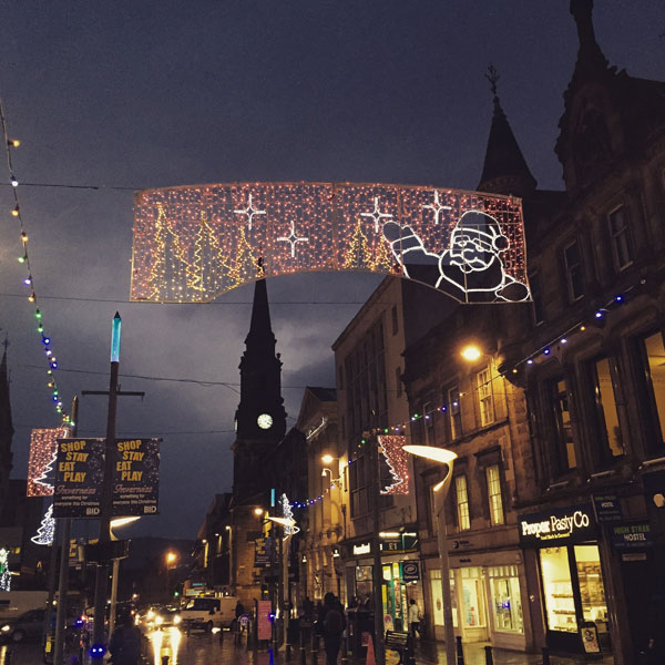 Inverness high street at Christmas