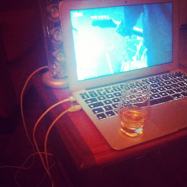 Whisky + Mogwai at Glastonbury. Still haven't got round to getting a new telly but this did the trick.
