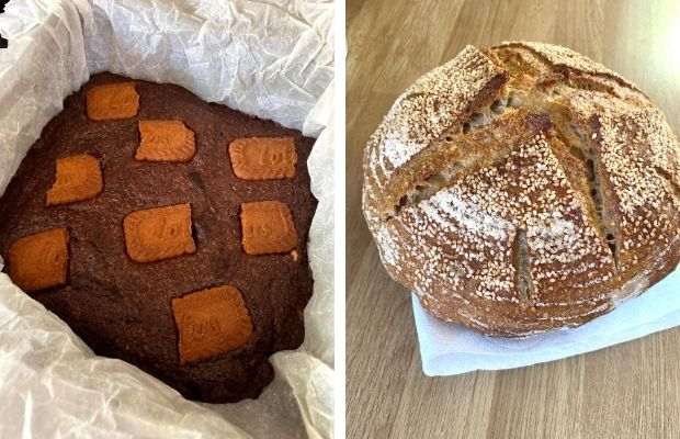 Biscoff brownies and homemade sourdough bread